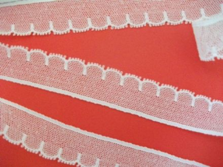 "FC267 White Cotton Cluny Nottingham Tulle Lace Trim 1"" wide. Made in Great Britain"